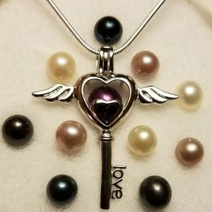 Jewelry - 925 sterling silver pearl cage, locket, necklace